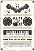 Music show retro poster synthesizer and headphones