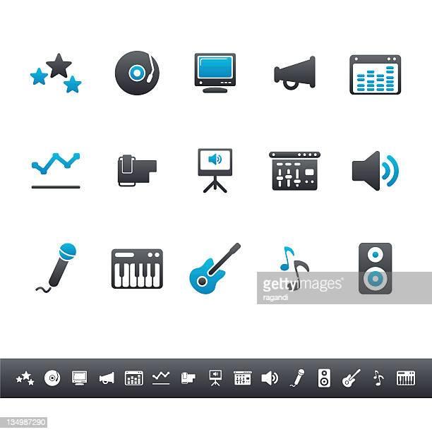 music & sound equipment | blue grey - volume knob stock illustrations, clip art, cartoons, & icons