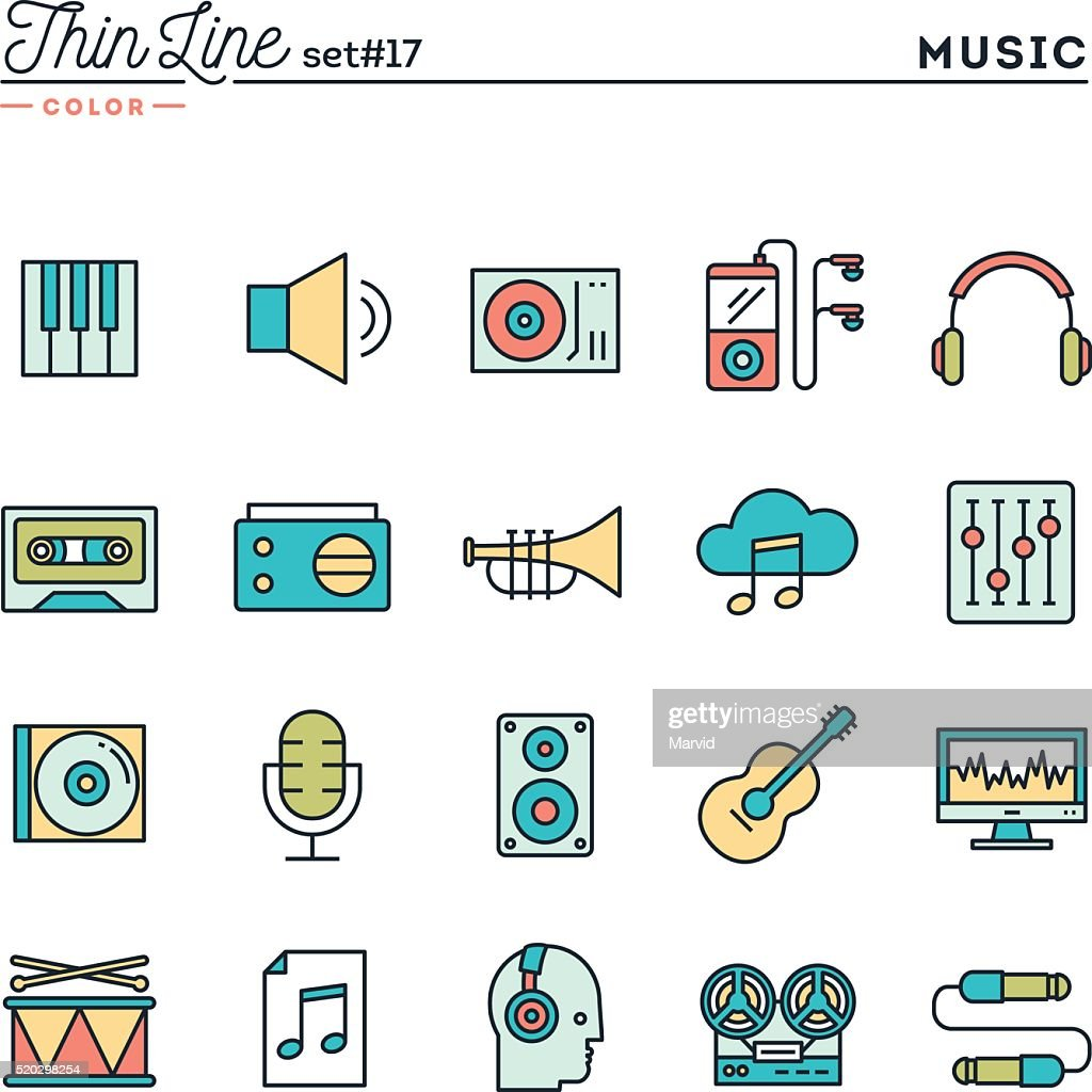 Music, sound, recording, editing and more, thin line color icons