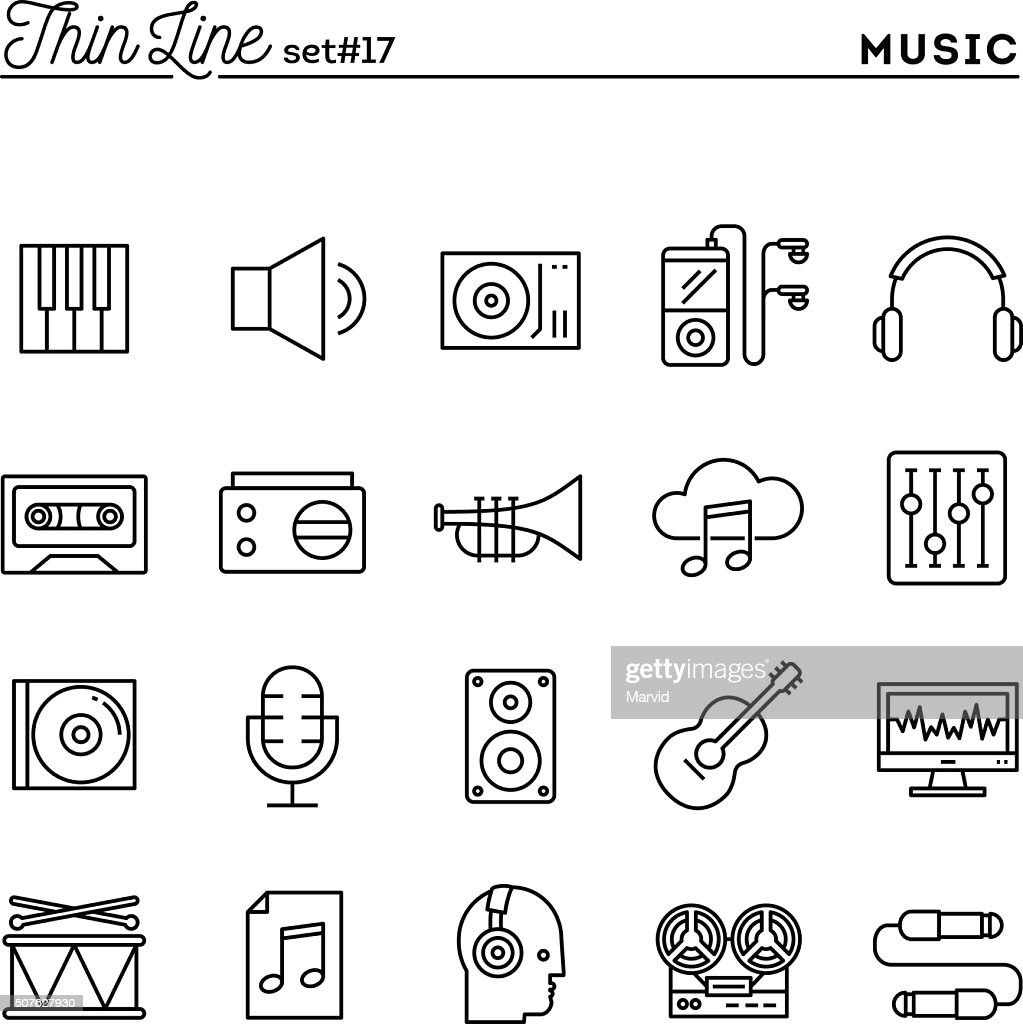Music, sound, recording, editing and more, thin line icons set