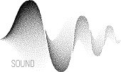 Music sound waves. Halftone vector