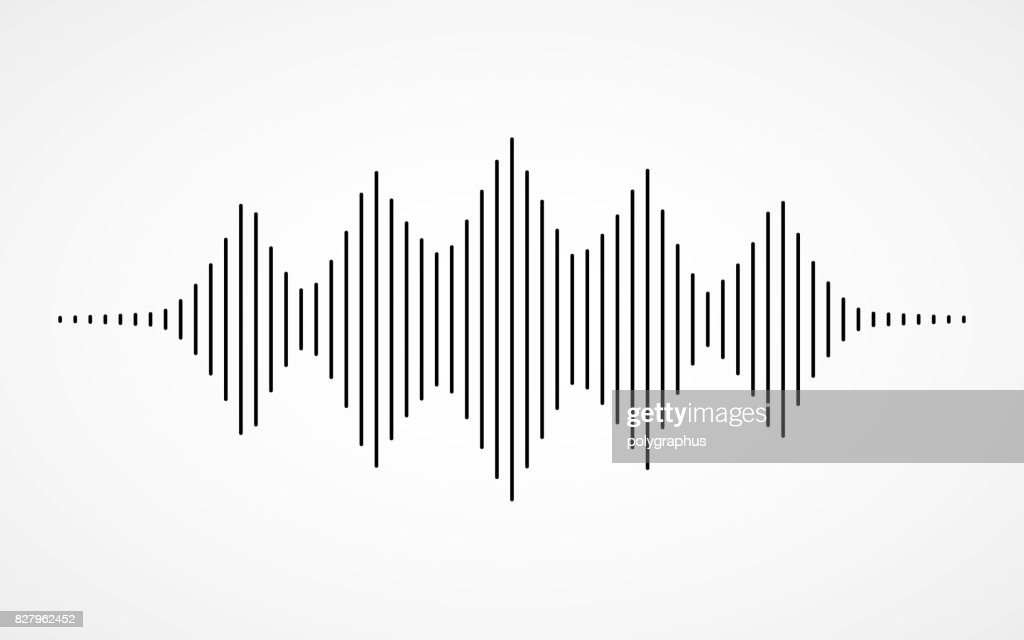 Music sound waves on white background
