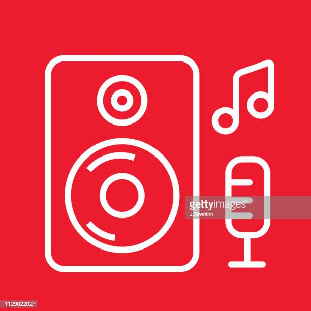 Music speaker and microphone Flat Simple outline line art design Icon