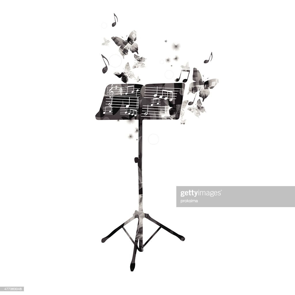 Music stand with butterflies