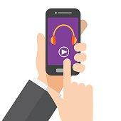 music streaming. listening music on smartphone. hand holds smartphone. vector illustration.