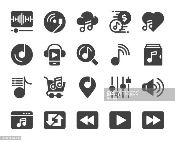 music streaming store - icons - volume unit meter stock illustrations, clip art, cartoons, & icons