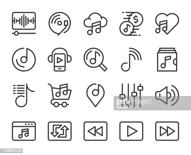 music streaming store - line icons - volume unit meter stock illustrations, clip art, cartoons, & icons