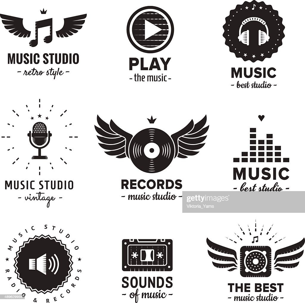 Music studio and radio logos vintage vector set.