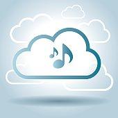 Music symbol design cloud broadcast