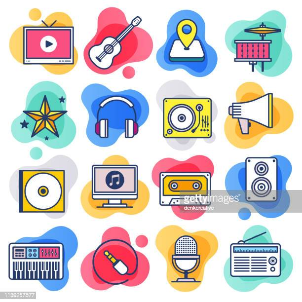 music teaching & learning flat line liquid style vector icon set - dvd stock illustrations
