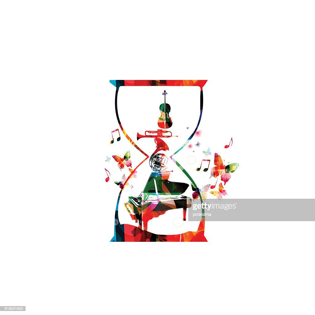 Music template vector illustration, colorful music instruments