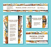 Music templates and banners made of different musical instruments, treble clef and notes