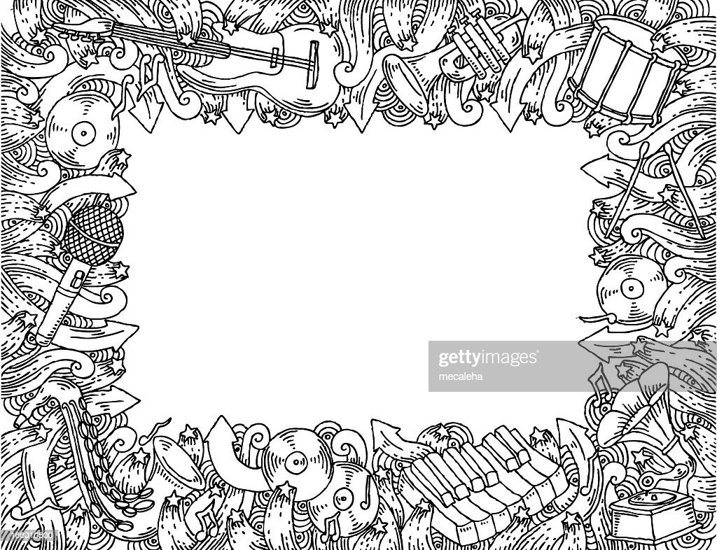 Music Themed Doodle Frame Vector Art | Getty Images