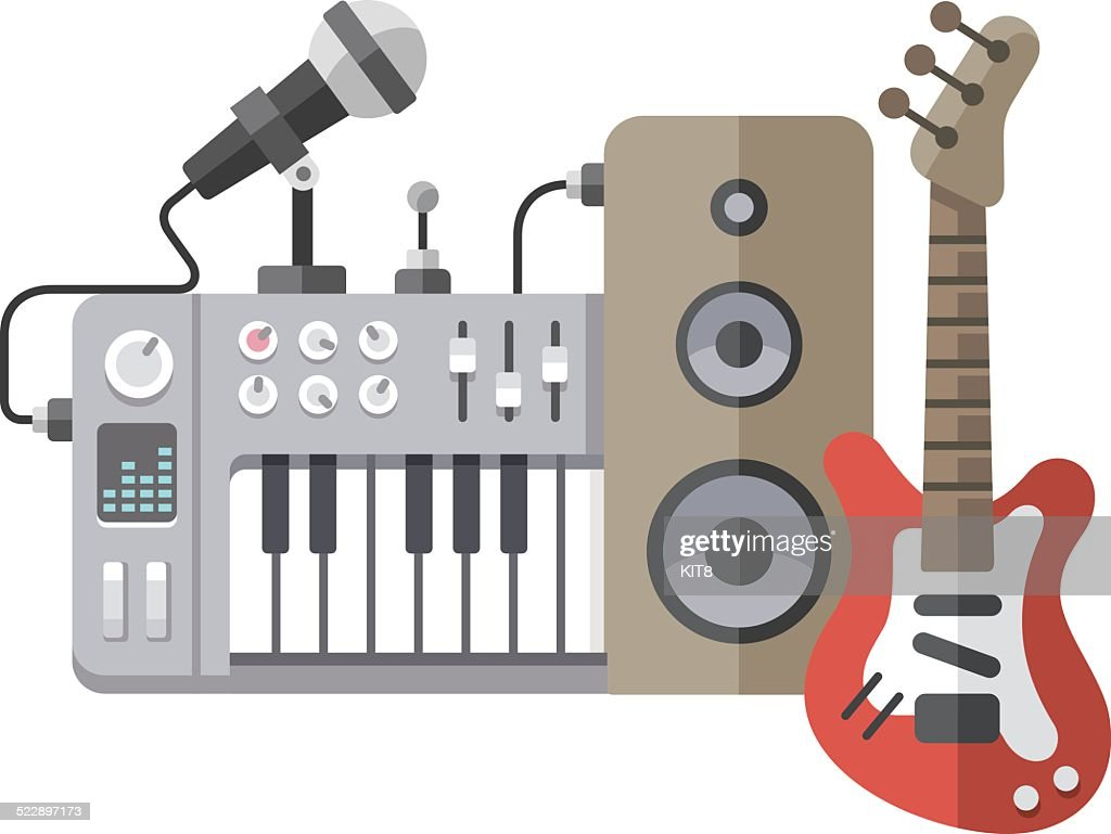 Music tools in flat style