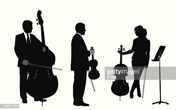 music trio vector silhouette - classical stock illustrations