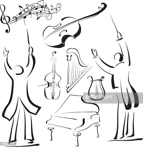 ilustraciones, imágenes clip art, dibujos animados e iconos de stock de música de - director de orquesta