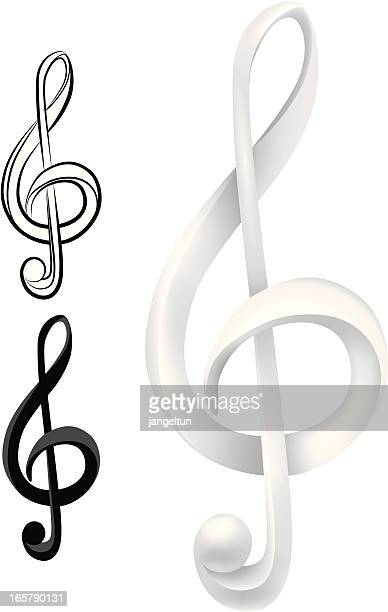 music - treble clef stock illustrations, clip art, cartoons, & icons