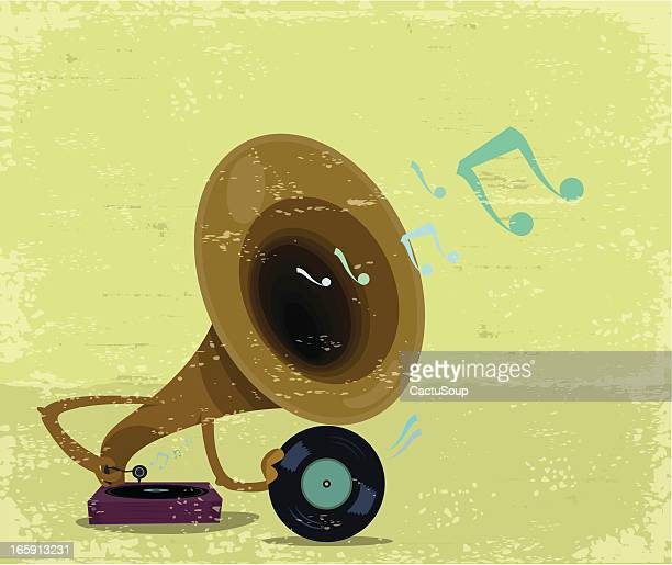 music - gramophone stock illustrations, clip art, cartoons, & icons