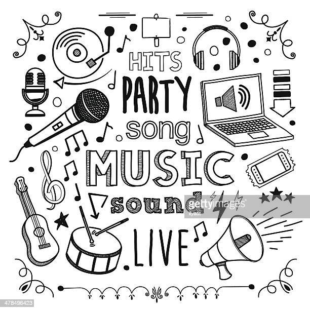stockillustraties, clipart, cartoons en iconen met music - muziek