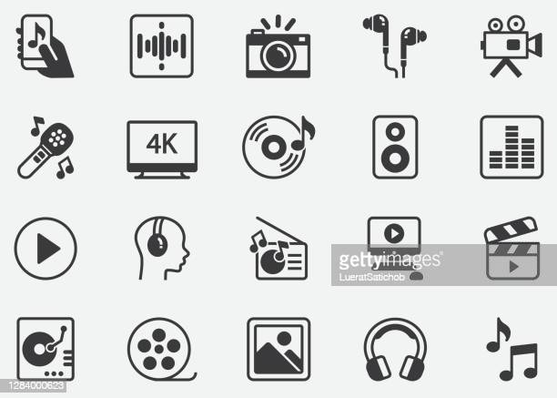 music ,video, multimedia ,audio ,image ,photo pixel perfect icons - ultra high definition television stock illustrations