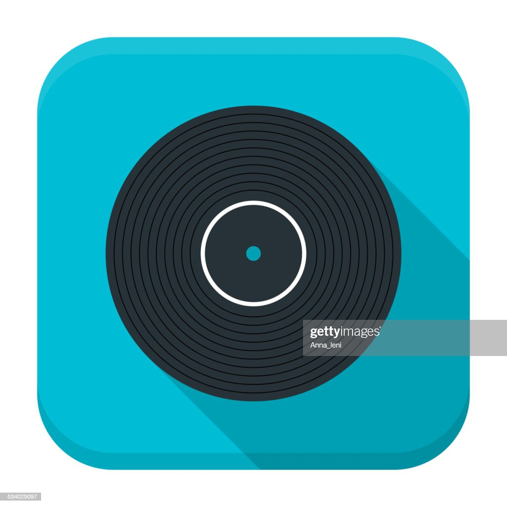 Music vinyl flat app icon with long shadow