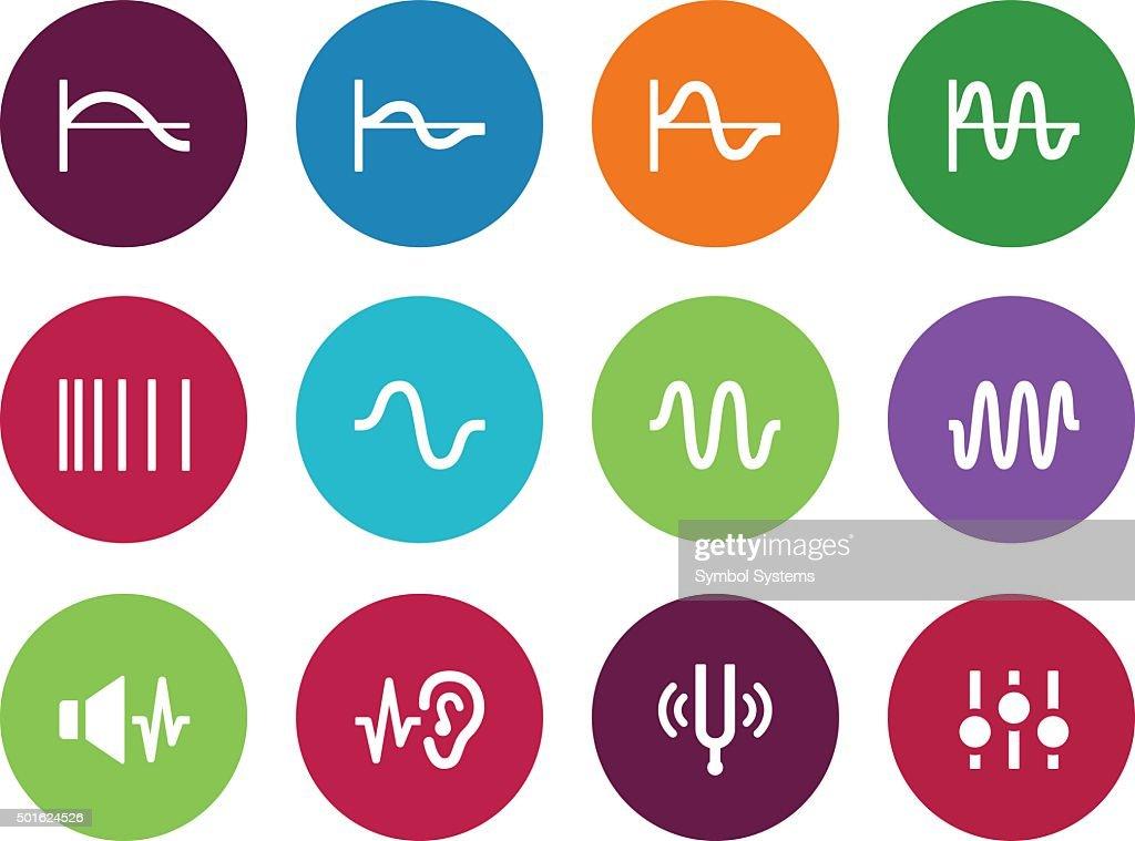 Music waves circle icons on white background