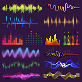 Music waves of sound on radio vector audio sounding waveform and wavelength of soundtrack and waved voice with soundwave volume isolated illustration