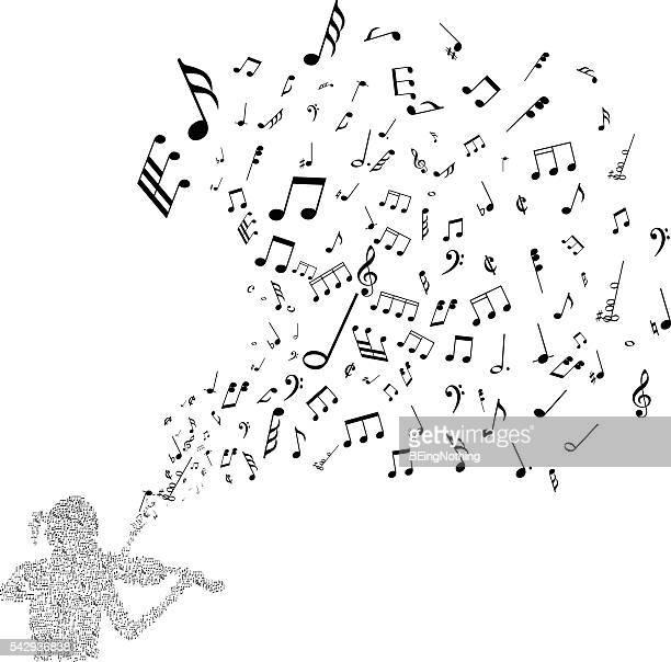 ilustrações, clipart, desenhos animados e ícones de fundo musical abstrato - nota musical