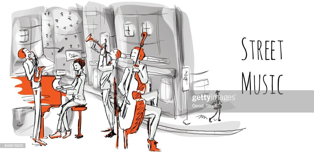 A musical band of street musicians. The Quartet plays jazz on a city street. Vector illustration in sketch style.