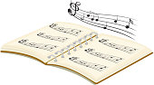 Musical book with notes