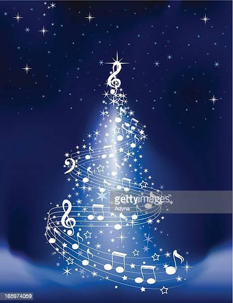 musical christmas tree - christmas music stock illustrations
