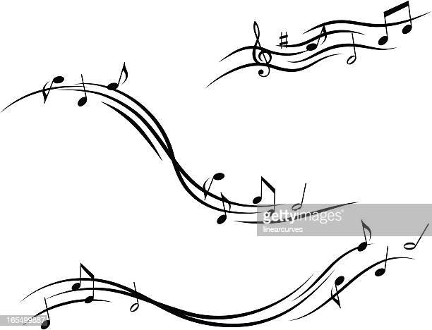 musical design with lines and notes - sheet music stock illustrations, clip art, cartoons, & icons