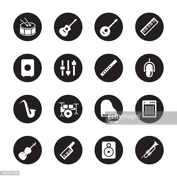 ilustraciones, imágenes clip art, dibujos animados e iconos de stock de musical equipment icons - black circle series - bajo eléctrico