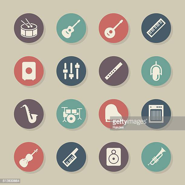 musical equipment icons - color circle series - bass instrument stock illustrations, clip art, cartoons, & icons