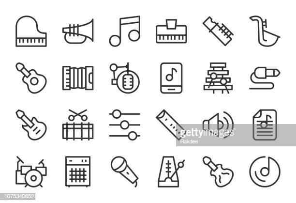 ilustraciones, imágenes clip art, dibujos animados e iconos de stock de iconos de equipo musical - serie de linea - bajo eléctrico