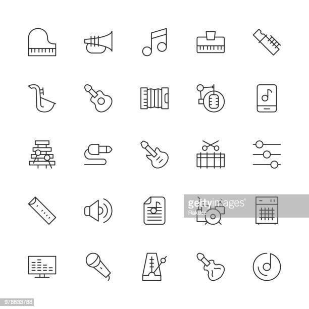 ilustrações de stock, clip art, desenhos animados e ícones de musical equipment icons - thin line series - pandeiro