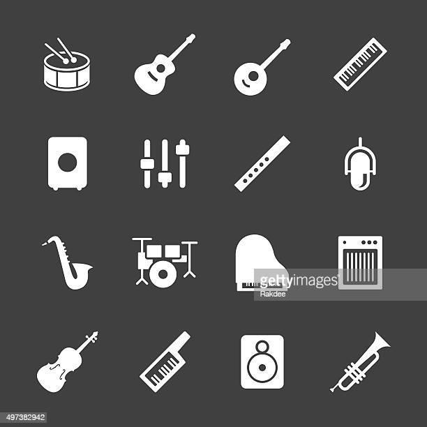 illustrazioni stock, clip art, cartoni animati e icone di tendenza di attrezzatura musicale serie di icone-bianco - chitarra classica