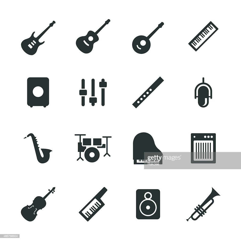Musical Equipment Silhouette Icons : stock illustration