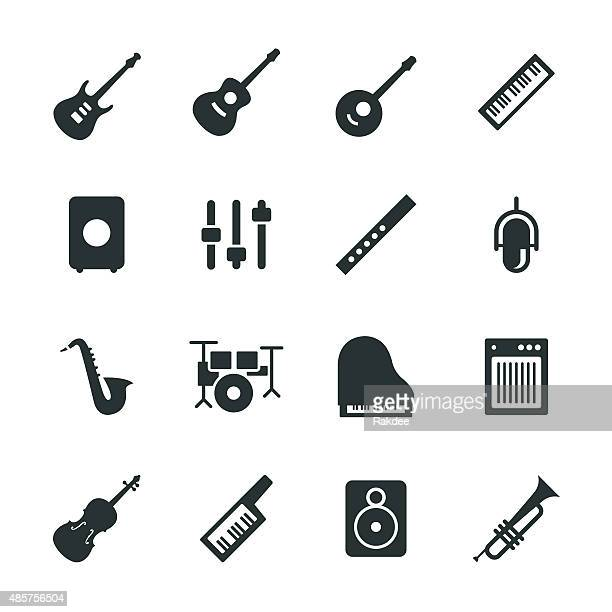 musical equipment silhouette icons - saxaphone stock illustrations, clip art, cartoons, & icons