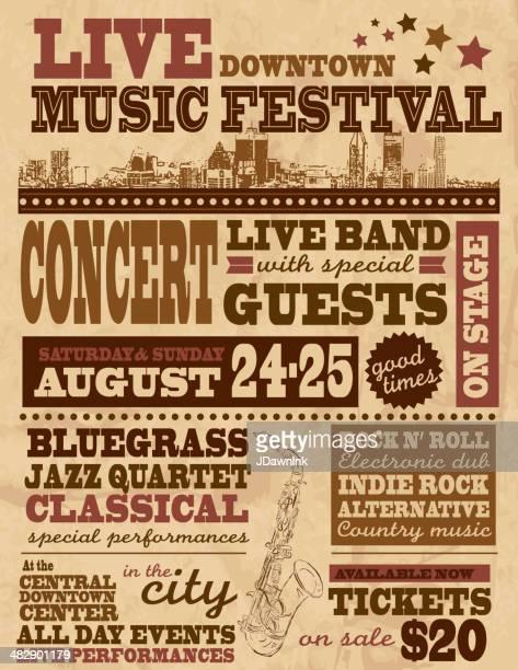 musical festival poster design template - rock stock illustrations