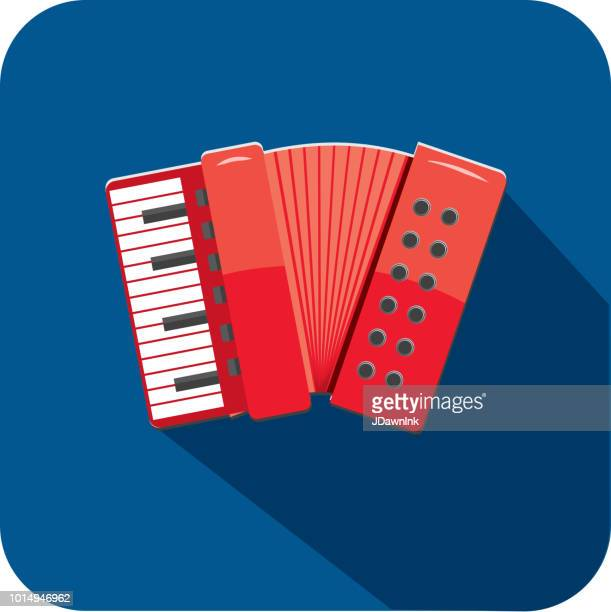 musical folding accordion instrument flat design themed icon set with shadow - accordion stock illustrations
