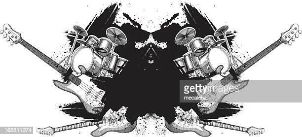 ilustraciones, imágenes clip art, dibujos animados e iconos de stock de musical grunge diseño - bajo eléctrico