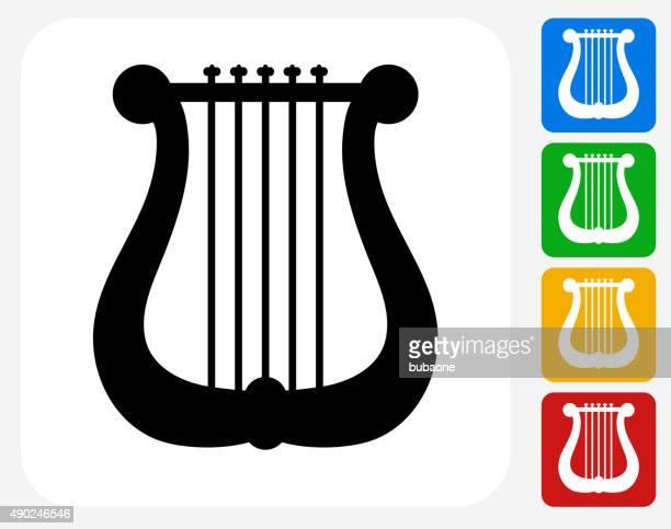 Musical Harp Icon Flat Graphic Design