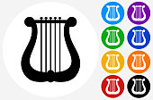 Musical Harp Icon on Flat Color Circle Buttons