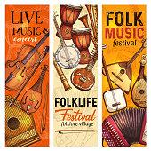 Musical instrument banner of folk music festival