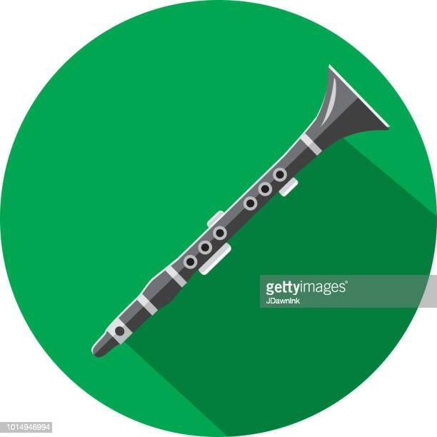 ilustraciones, imágenes clip art, dibujos animados e iconos de stock de musical instrumento clarinete diseño plano temático icon set con sombra - clarinete
