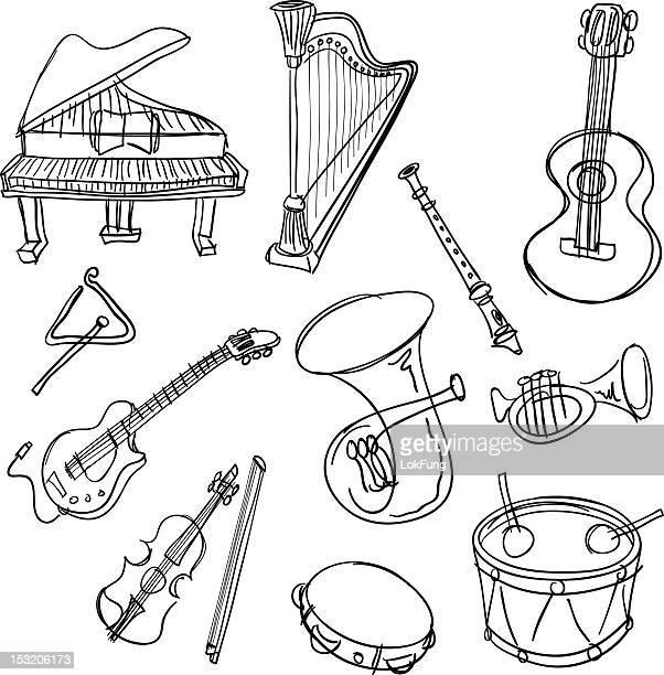 ilustrações de stock, clip art, desenhos animados e ícones de instrumento musical coleção em preto e branco - pandeiro