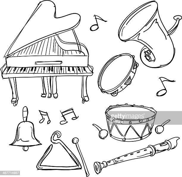 ilustrações de stock, clip art, desenhos animados e ícones de instrumento musical coleção de esboço de estilo - pandeiro