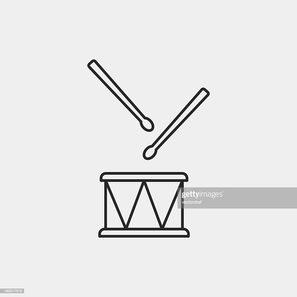 Musikinstrument drum-Linie-icon : Vektorgrafik
