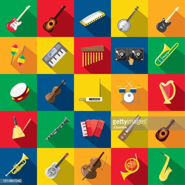 musical instrument flat design set themed icon set with shadow - musical instrument stock illustrations